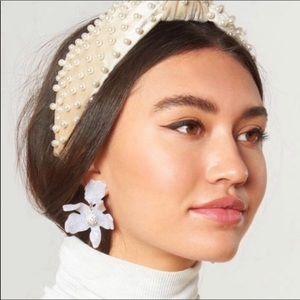 NWT Anthro Lele Sadoughi white lily earrings